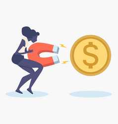Womans holding big magnet to attract money vector