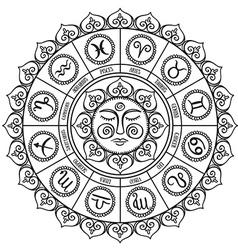 Zodiac circle with horoscope signsHand drawn vector