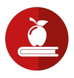 apple book school symbol shadow vector image