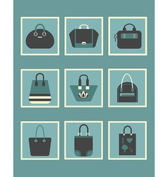 blue trendy women hand bags and purse icons set vector image