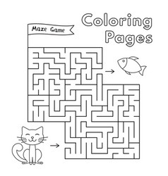 cartoon cat maze game vector image