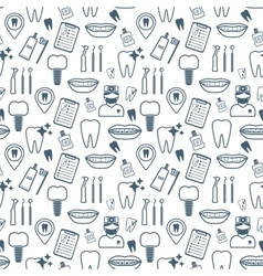 Dental seamless pattern Dark blue linear icons vector image vector image