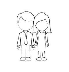 figure couple sticker icon vector image