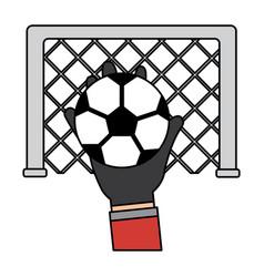 hand holding soccer ball goal vector image