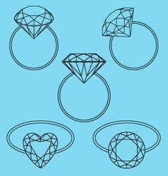 diamond rings set vector image vector image