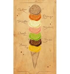 Ice cream menu kraft vector image vector image