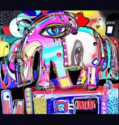 Original abstract digital painting of decorative vector