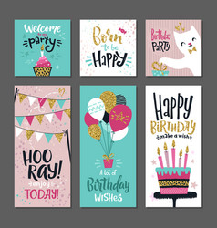 set of greetings cards invitation for birthday vector image vector image