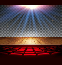 Theater wooden stage with a spotlight on a vector