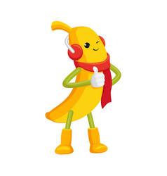 Funny winter banana character showing thumb up vector