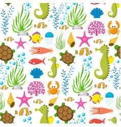 aquatic funny sea animals underwater creatures vector image