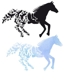 Horse with flying birds vector image vector image
