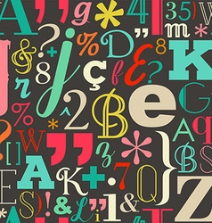 Retro color letters seamless pattern background vector image vector image