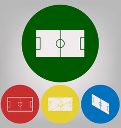 soccer field 4 white styles of icon at 4 vector image vector image
