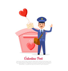valentine post and mailman with heart balloon vector image vector image