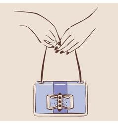 woman hand holding a stylish bag vector image