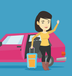 young asian woman traveling by car vector image