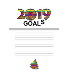 2019 goals graphic with with a list for vector image