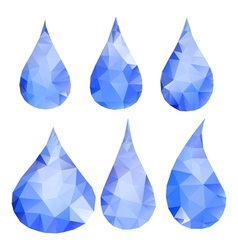 Abstract blue drops consisting of triangles vector