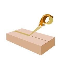Adhesive Tape Dispenser Closing A Brown Cardboard vector