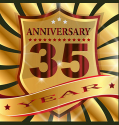 anniversary 35 th label with ribbon vector image