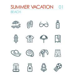 Beach icon set summer vacation vector