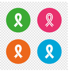 Breast cancer awareness icons ribbon signs vector