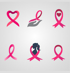 Breast cancer ribbon logos set vector