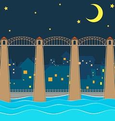 Bridge over city at night vector image