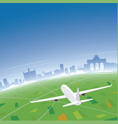 Brussels skyline flight destination vector