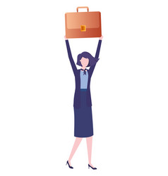 Business woman with portfolio avatar character vector