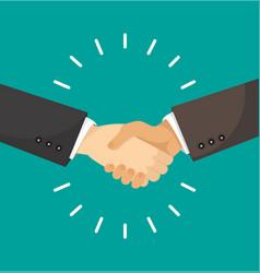 businessmans handshake flat style vector image
