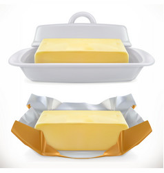 Butter 3d realistic icon vector