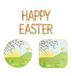 buttons happy easter spring meadow vector image