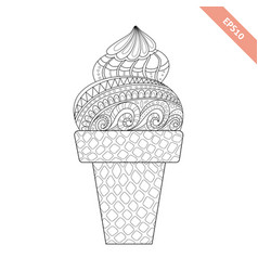cartoon hand drawn ice cream in waffle vector image