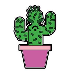 Cartoon potted cactus kawaii character vector