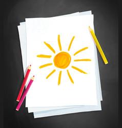 child drawing sun vector image