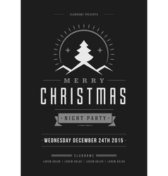 Christmas party poster retro typography and vector image