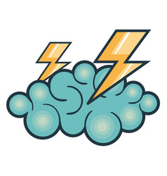 cloud thunder weather vector image