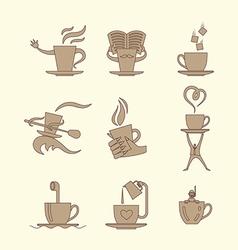 Coffee tea icon set vector