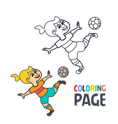 coloring page with woman football player cartoon vector image