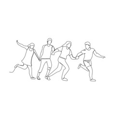 continuous line drawing running happy people vector image