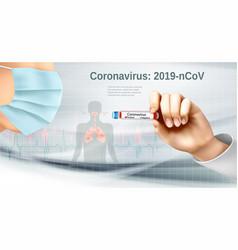 Coranavirus background with nurse holding tube vector