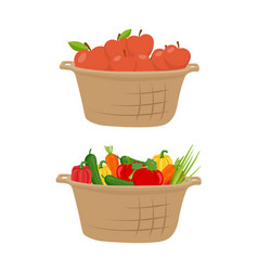 cucumber and apples in basket vector image