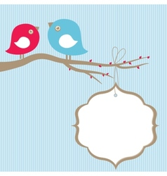 Cute beauty birds on the tree branch vector