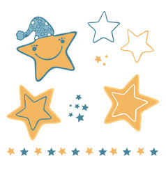 cute cartoon stars with hat and happy smiling face vector image