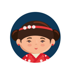 cute japanese girl cartoon vector image