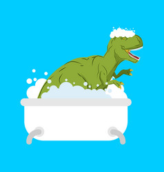 dinosaur in bath tyrannosaurus is washed in vector image