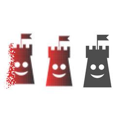 Dissolved pixelated halftone happy bulwark tower vector