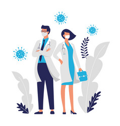 Doctors woman and man vector